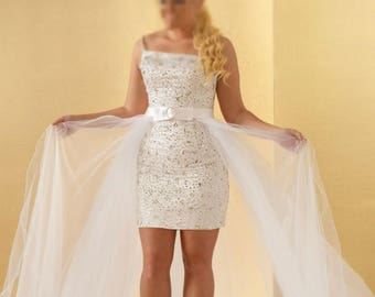 Wedding dress short silk brocade - straight dress in a beautiful Italian fabric Brocade drapes across the removable tulle with satin sash