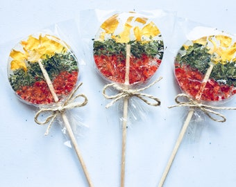 Yellow, green, red set of 3 Lithuanian flag theme lollipop, Lithuania patriotic gift, suckers on wooden sticks, Baltic design from Latvia