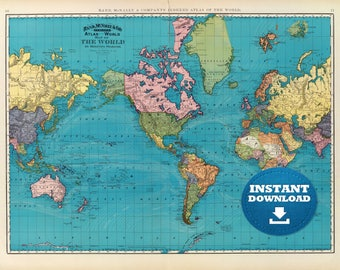 World Map Etsy - Usa world map