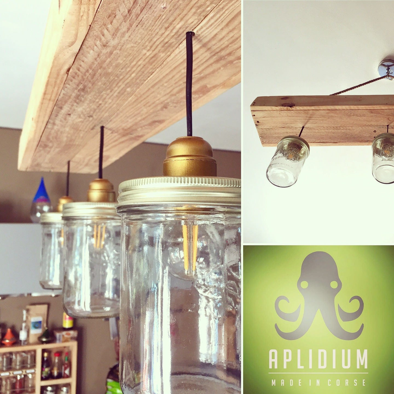 suspension bocaux et bois recycl en mode campagne chic. Black Bedroom Furniture Sets. Home Design Ideas