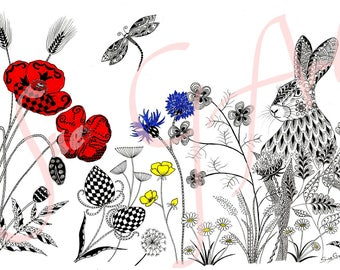 In The Meadow Hare/Rabbit Poppy Wildflower Floral Zentangle Art Print