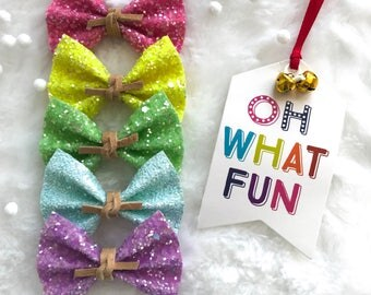 Glitter Bow Set - Oh What Fun - set of 5 bows