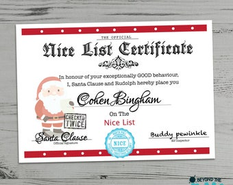 Personalised Nice List Christmas Certificate From Santa Clause - Father Christmas