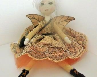 cloth doll , rag doll , fairy doll , ooak doll , ooak cloth doll