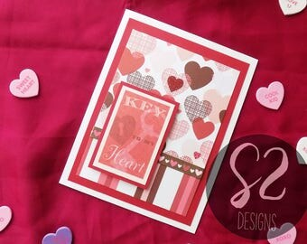 Handmade Key to my Heart Valentines Card