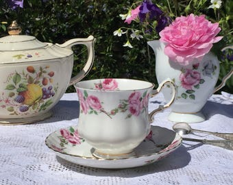 Vintage teacup and saucer, Pink Roses, fine bone china, Royal Sutherland, Made in England