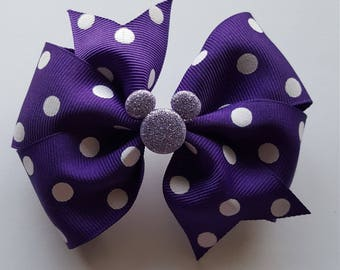 Glittered Purple mickey mouse with white polkadots bow clip