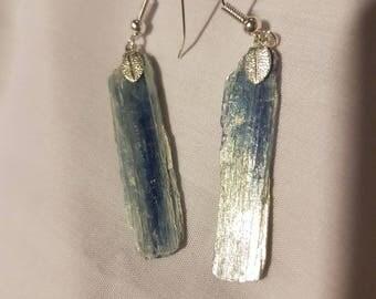 Hand crafted raw Kyanite fish hook earrings