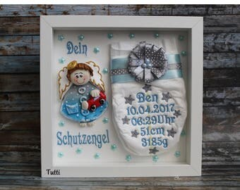 Embroidered diaper in the frame, gift, birth, baptism, guardian angel