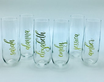 8.5 oz personalized stemless champagne flutes (Font style 9) in sets of 4 up to 16