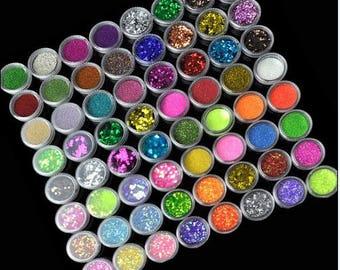 72PCS/Lot Nail Pastel Nail Glitter Set Nail Art Glitter Powder Dust Ultra-fine Glitters Mix Nail Art Glitter Powder