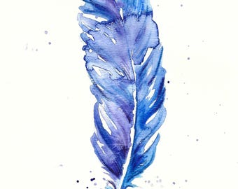 One Blue Feather Original Watercolour Painting Illustration