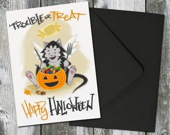 Trouble or Treat Halloween Cat Card