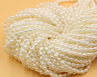 Freshwater Pearls Oval pearl Natural White loose pearl 3 - 4 mm 15'' Full Strand