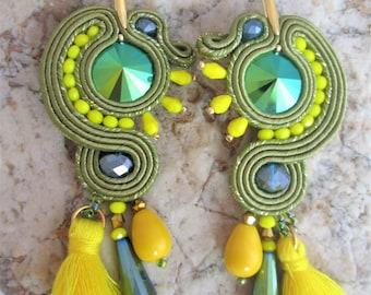 soutache earrings green and sun