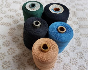 Set of five thick cotton blue, black, green, cinnamon thread on cardboard  spools produced in the Soviet Union for sewing textile, crochet