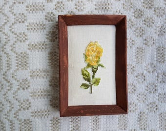 Vintage embroider only rose, handmade picture / image / canvas whit wooden frame