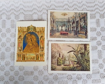 Set of three vintage  postcards, vintage art postcards, collectible postcard,  vintage souvenir World cities, old postcards of Lithuania