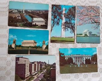 Set of six vintage  postcards, vintage art postcards, collectible postcard,  vintage souvenir world cities, old postcards of Washington, USA