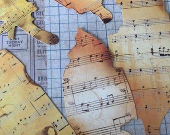Burned Music Sheets Ephemera | Music Sheets Bookmarks |