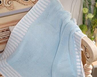 Baby knitting blanket made of cotton or merino wool