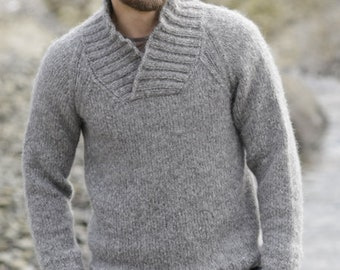 Color selection: Men's pullover merino/alpaca sweater hand Knit