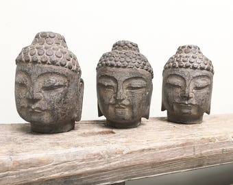 Small stone buddha head - Unique Chinese sculptures
