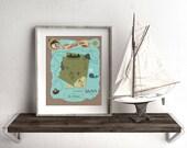 Custom Arizona State Pirate Treasure Map for Kids Print, Nursery Decor, Nautical Theme, Wall Art Print, Personalized Map, Ocean Art