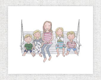 Custom Portrait – 8 x 10 – Original, One-of-a-Kind, Personalized, Hand Drawn Illustration (Children Only)