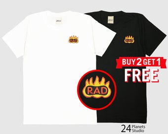 Rad and Fire Embroidered T-Shirt by 24PlanetsStudio