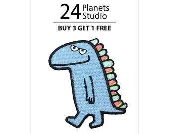 Blue Dinosaur Iron on Patch by 24PlanetsStudio