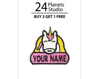 "Unicorn ""Your Name"" Iron on Patch by 24PlanetsStudio"