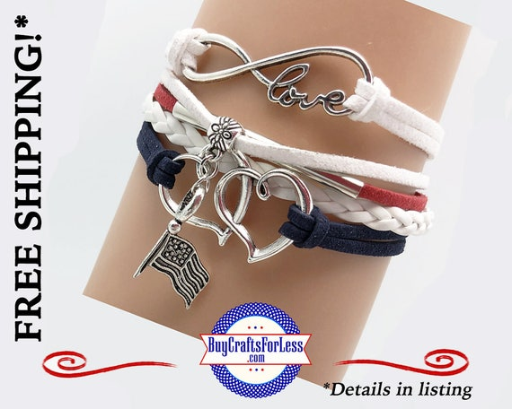 PATRiOTIC USA, July 4th, USA Flag INFiNITY CHaRM BRaCELET, Leather/Suede, Choose Clasp - Super NiCE! +FREE SHiPPING & Discounts*