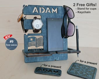 Personalized Gift for Men, Docking Station, Charging station, Gift for Dad, Boyfriend Christmas Gift, Gifts for Him, Husband Gift, Men, Mens