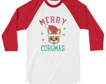 Merry Corgmas Christmas Holiday Corgi Raglan Shirt 3/4 Sleeve