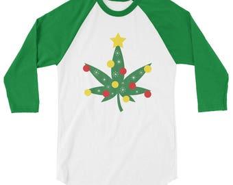 Christmas Cannabis Marijuana Tree Raglan Tee Shirt 3/4 Sleeve