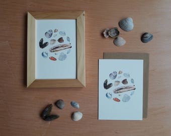 Greeting card/mini print - circle of shells