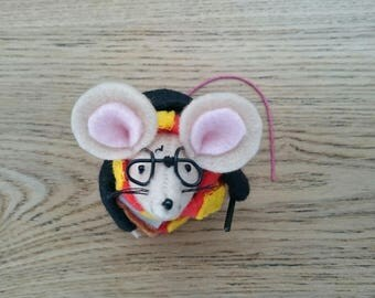 Felt mouse, Harry Potter inspired mouse, Mouse in Harry Potter costume, Collectables, Handmade, Mice