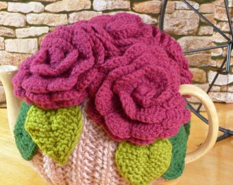 Flowers teapot cosy /Knitted teapot cosy/Handmade teapot cosy/Teapot cozy/Flowers /Knitted flowers/  Roses teapot cosy
