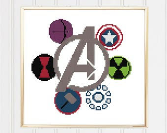 Avengers cross stitch pattern/avengers cross/marvel cross stitch/superhero cross/easy cross stitch/cross stitch heroes/#03-026