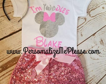 Minnie Mouse Birthday Outfit, Girls Twoodles Birthday 2nd Outfit, Pink and Silver Second Birthday Outfit, Sequin Shorts Birthday Outfit