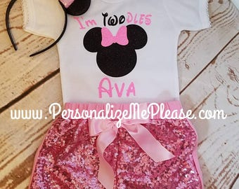 Minnie Mouse Birthday Outfit, Girls Twoodles Birthday 2nd Outfit, Light Pink and Black Second Birthday Outfit, Sequin Shorts Birthday Outfit