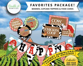 Party Printables Favourites Package - Farmer Boy theme, Old Macdonald birthday, barnyard animals, farm animals, Editable Party Printables