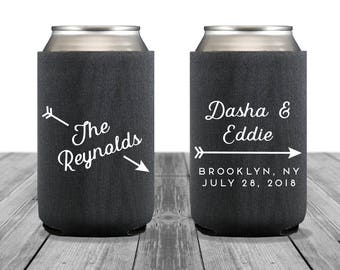 Neoprene Can Coolers, Personalized Coolies, Rustic Wedding, Custom Hugger, Wedding Can Coolers, Wedding Logo, Arrow, 1349