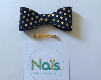 Brooch Navy blue leather bow with gold dots