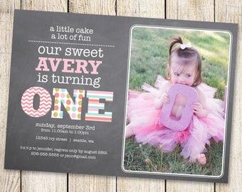 First Birthday Invitation, Printable birthday invitation, Girl First Birthday, Turning One, One Year Old Girl, One Year Old Birthday