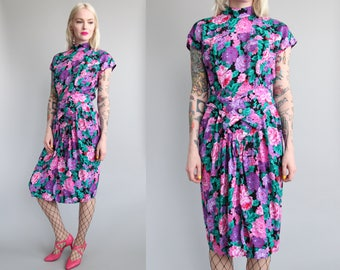 Vtg 80s Bright Floral High Neck Dress sz S/M