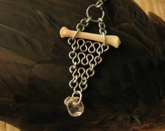 Single Bone and Chain Earring