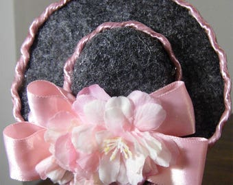 Precious pretty pink hat for Barbie doll.  Accessory. Handmade by Nims
