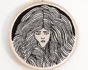 Tribute to Aubrey Beardsley Hand Embroidery Wall Art 6""